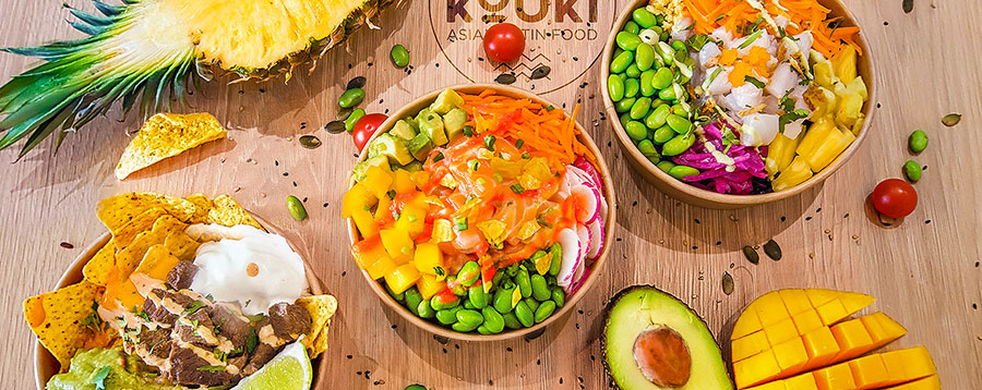 Kouki restaurant poke bowl nachos